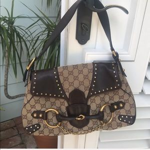 Gucci Horse Bit Collection Logo Shoulder Bag